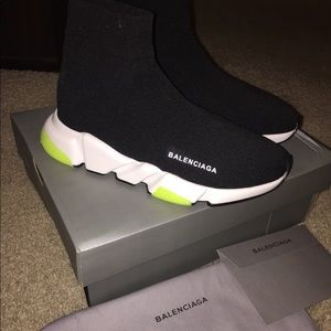 New lime green black women trainers